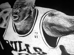 Michael Jordan Scratchboard - Illustration